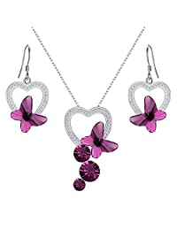 EleQueen 925 Sterling Silver CZ Butterfly Bridal Pendant Necklace Hook Drop Earrings Set Adorned with Swarovski® Crystals