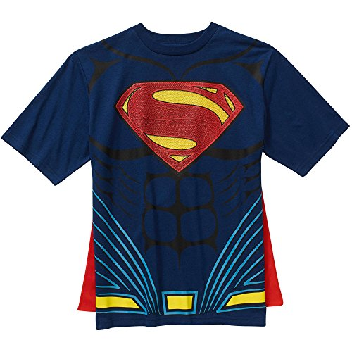 DC Comics Superman Costume with Cape Boys Graphic T-Shirt (Large 10/12) (Superman T Shirt With Cape)