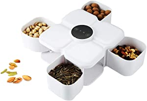 LIHUACHEN Creative Automatic Induction Rotating Shrink Snack Storage Box,4 Compartment Plastic Food Storage Candy Box Nut Dried Fruit Plate, Plastic Food Storage Home Wedding Christmas Party(White)