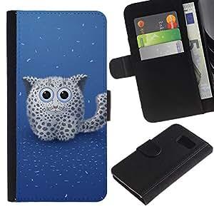 KingStore / Leather Etui en cuir / Samsung Galaxy S6 / Nieve lindo Pantera