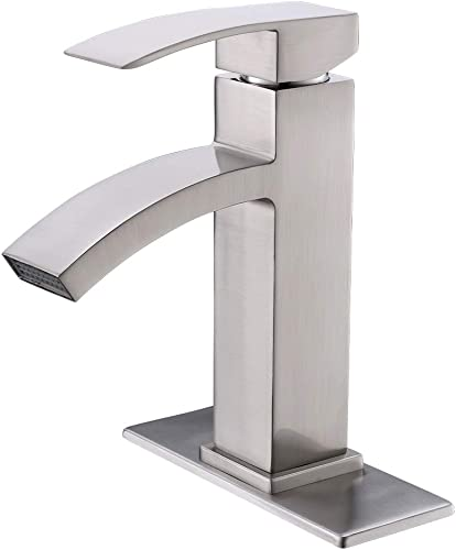 VOKIM Single Handle Waterfall Bathroom Vanity Sink Faucet with Extra Large Rectangular Spout, Brushed Nickel Bathroom Basin Faucet