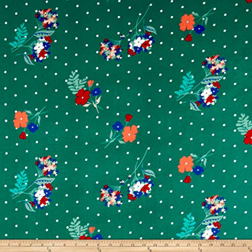 - Fabric Merchants Double Brushed Poly Jersey Knit Dots and Floral Fabric, Teal/Coral, Fabric By The Yard