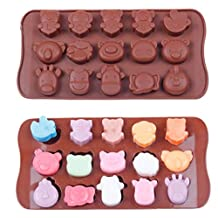 JLHua Zebra Giraffe Bear 15-Cavity Silicone Mold for Making Homemade Chocolate, Candy, Gummy, Jelly, and More