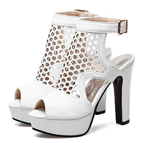Toe Donna White Tacco a Peep TAOFFEN 45 Asian Estate Taglia Sandali Blocco Scarpe Moda Piattaforma dqgWZ8w