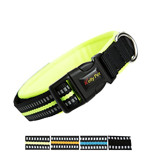 Color Adjustable Breathable Nylon 3M Reflective Dog Collars & Seat Belts Comfortable to wear, Matching Leash Harness Available Separately (Large, Green) (Comfortable Dog Collars)