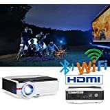 Android Bluetooth Projector Outdoor 4200 Lumen Support Full HD 1080P Max 200 LCD LED Wirelss Projector Home Theater Movies Multimedia HDMI USB AV VGA Video Proyector for Smartphone Game Console