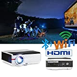 Android Bluetooth Projector Outdoor 4200 Lumen Support Full HD 1080P Max 200' LCD LED Wirelss Projector Home Theater Movies Multimedia HDMI USB AV VGA Video Proyector for Smartphone Game Console