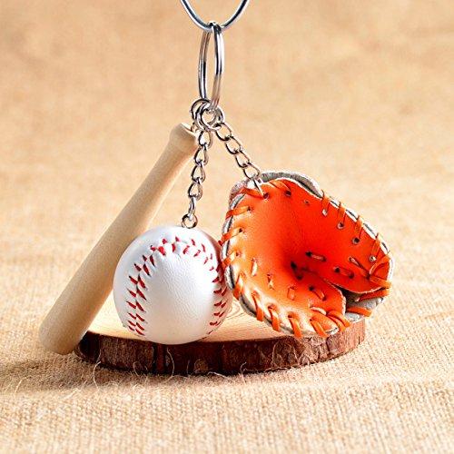 (Fashion Mini Three-Piece Baseball Glove Wooden Bat Keychain - Orange)