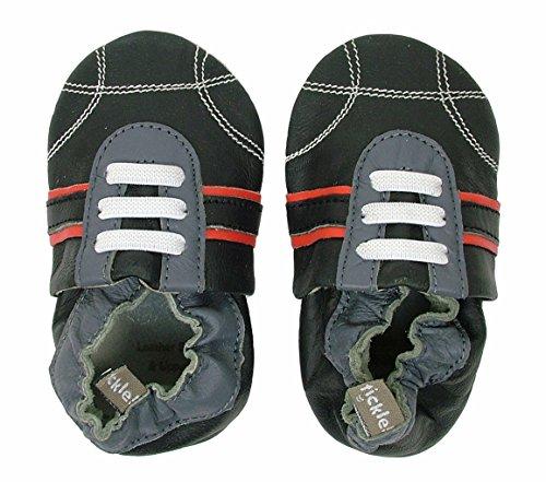 Tommy Tickle Soft Sole Black Sport shoe (Large (12-18 (Bobux Suede Shoes)