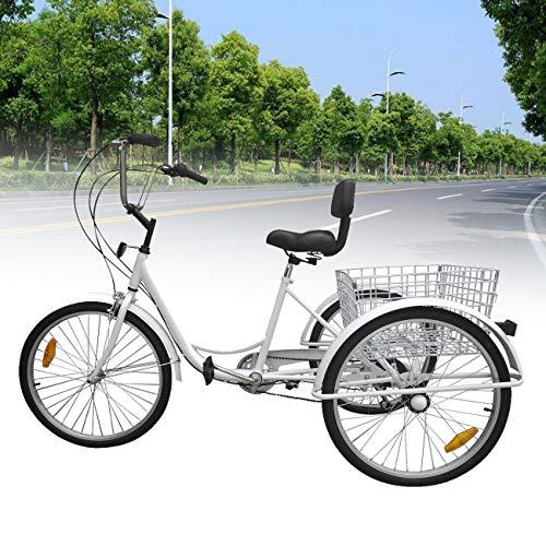 Ridgeyard 7 Speed 24 Inch 3 Wheel Adult Tricycle Bike Cycling Pedal Cruiser Bicycles Folding Basket
