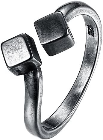 Unique Simple Women's Rings Antique Silver Open Rings Fashion Creative Ring Solid Adjustable Rings Size-8