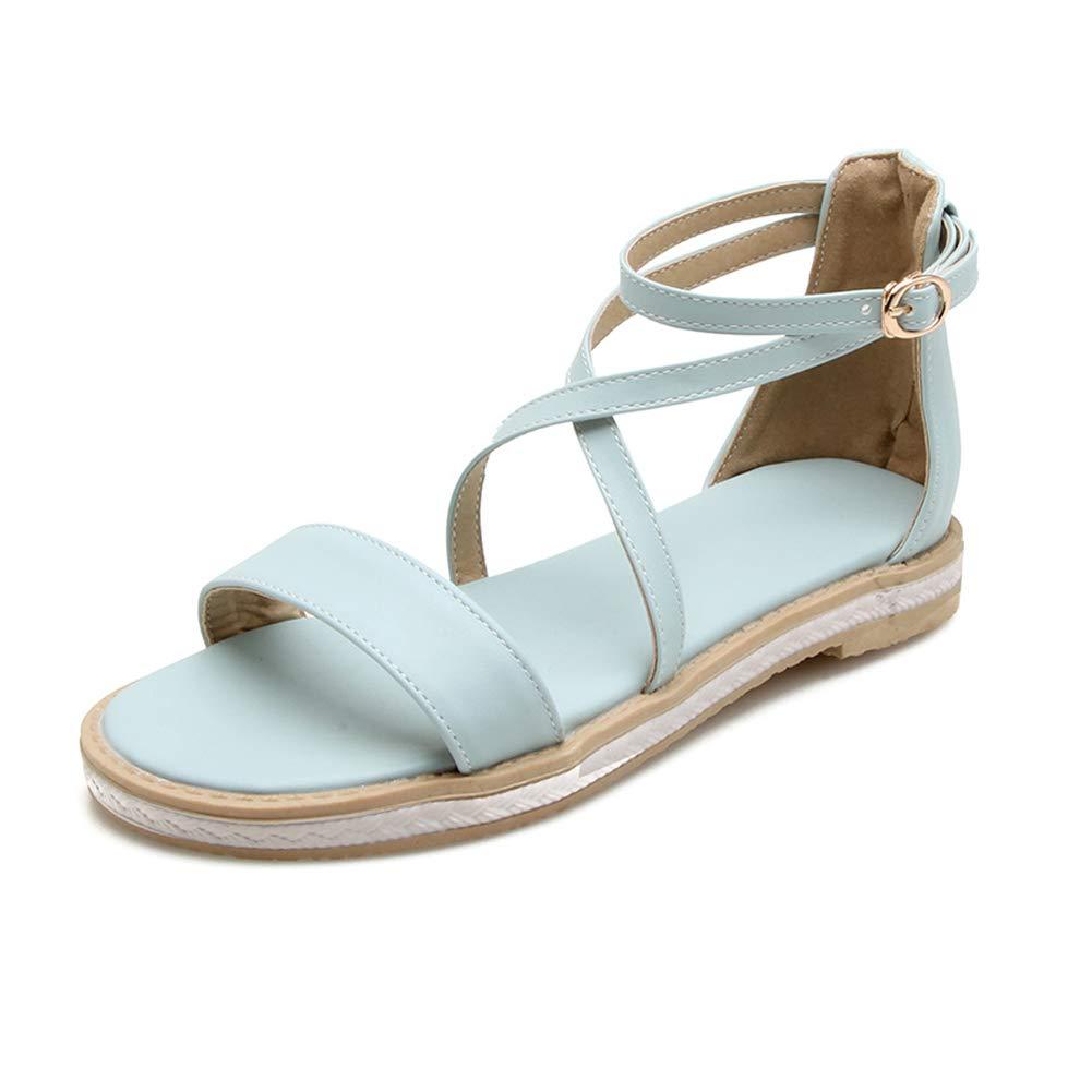 bluee HEDDK Summer Women Sandals Casual Student Wild Flat Open Toe Big Buckle with Sandals Beach Sandals Big Size 31-42