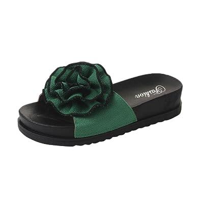 bdf92cf7be7b32 Lolittas Leather Flat Flower Slipper Sandals Pantshoes for Women Ladies