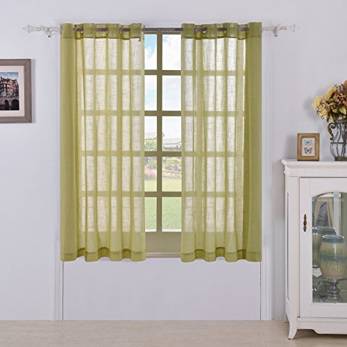 BEST DREAMCITY Sheer Linen Look Curtains (Yellow-Green,W52 X L63,Set of 2)
