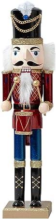 3PCS 38CM Grand Casse Noisette En Bois Classique Nutcracker Christmas Casse Noix Noel Soldat Figurine Peint /À La Main Paillettes Rouge Pour Maison Table Decoration De No/ël