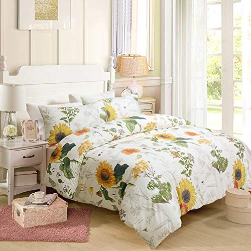 Sunflower Design Bedding King Size 3Pc(1 Duvet Cover +2 Pillowcase/Shams) 60% Bamboo Fiber + 40% Egyptian Cotton Small Fresh ()