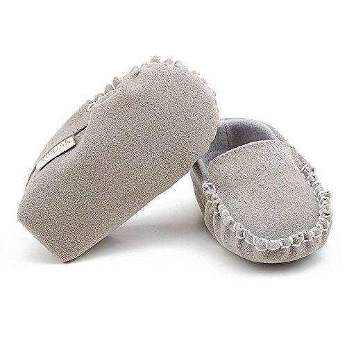 Fire Frog Baby Boat Loafer Shoes - Zapatos primeros pasos para niño gris