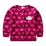 CJ Fashion Cute Knit Cardigan Sweater for Baby Girls 4-5 Years Old Hot Pink Crew Neck