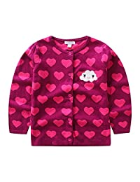 CJ Fashion Cute Knit Cardigan Sweater for Baby Girls Hot Pink 12M-5Y Crew Neck