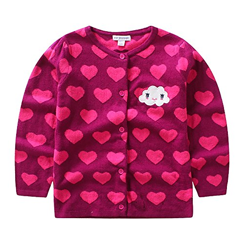 CJ Fashion Cute Knit Cardigan Sweater for Baby Girls 4-5 Years Old Hot Pink Crew Neck by CJ Fashion
