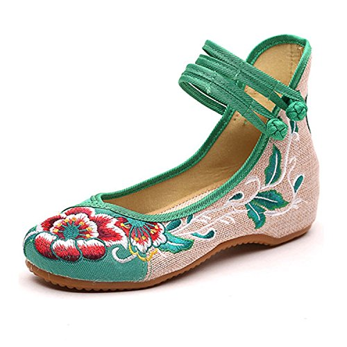 Womens Folk Style Canvas Peony Embroidered Cloth Mary Jane Shoes Breathable Casual Walking Ethnic Dancing Shoes Green,9 B(M) US