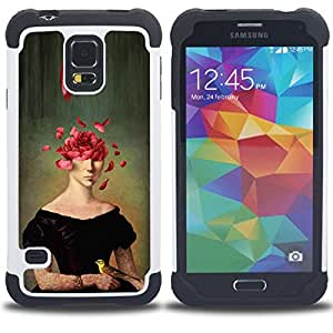 For Samsung Galaxy S5 I9600 G9009 G9008V - PORTRAIT PAINTING ART FACE ROSE PETALS SYMBOLIC Dual Layer caso de Shell HUELGA Impacto pata de cabra con im??genes gr??ficas Steam - Funny Shop -