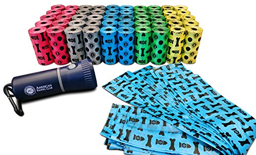 American Kennel Club AKC Pet-Waste Bags (1,000Count) with Led Flashlight Dispenser, Multicolored