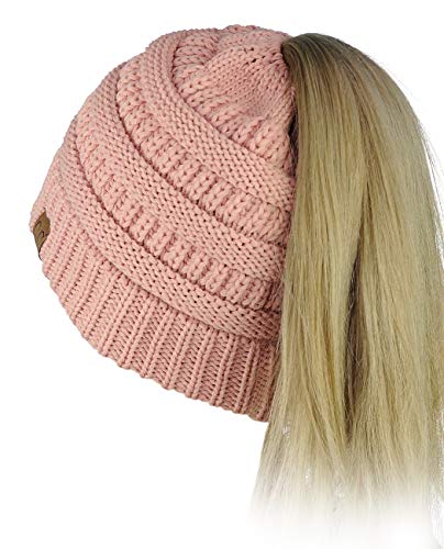 (C.C BeanieTail Soft Stretch Cable Knit Messy High Bun Ponytail Beanie Hat, Indi Pink)