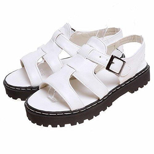 COOLCEPT Damen Thick Sole Sandalen Cut Out White