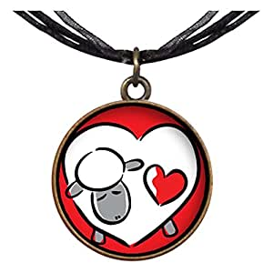 Bronce GiftJewelryShop estilo Retro San Valentín oveja Capricornio colgante en forma de corazón colgante collares