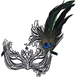 Masquerade Mask Princess Metal Rhinestone Peacock Feathers Party Mask