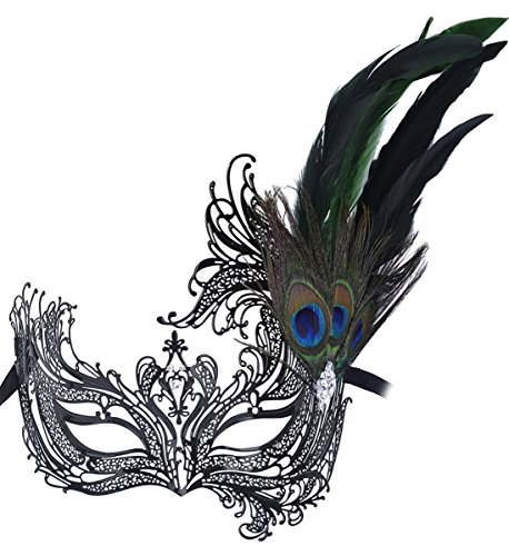 Masquerade Mask Princess Metal Rhinestone Peacock Feathers Party -
