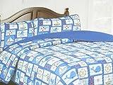 Cozee Quilts LITTLE SAILOR Blue Red Nautical TWIN Size 2 Pc Quilt Sham Set