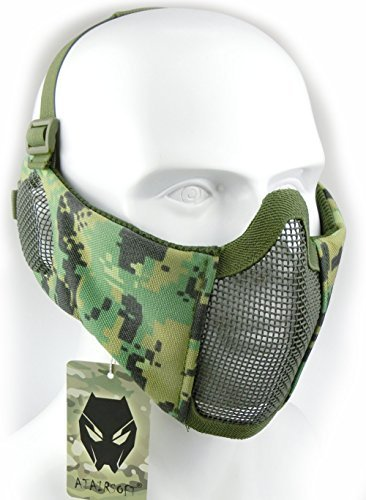 ATAIRSOFT Tactical Airsoft CS Protective Lower Guard Mesh Nylon Half Face Mask with Ear Cover AOR2
