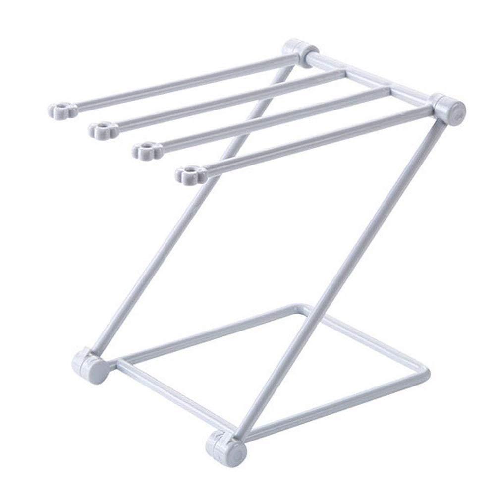 TOBABYFAT Towel Rack, Foldable Dish Cloths Rack Shelf Sponge Holder Home Kitchen Clip Rag Storage Stand Rack (Grey)
