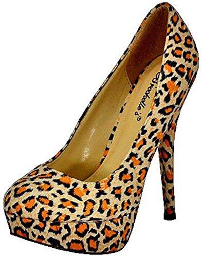 Breckelles Angie-41 Leopard Women Platform Pumps Leopard