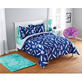 3 Piece Medium Blue Bohemian Dreamcatcher Comforter Full Queen Set, Indian Tribal Dream Catcher Bedding Feathers Southwest Themed Colors Hippie Hippy Native Pattern, Polyester