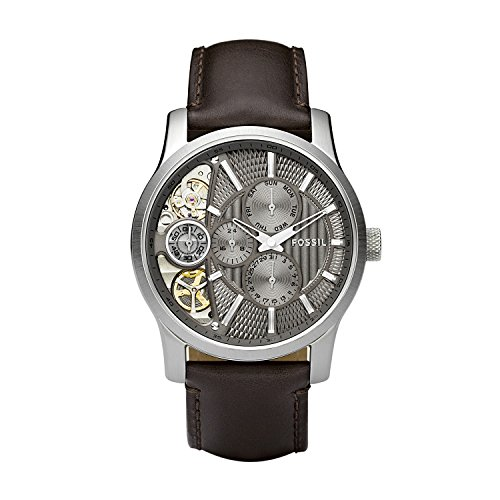 Fossil-Mens-ME1098-Brown-Leather-Strap-Textured-Taupe-Cutaway-Analog-Dial-Chronograph-Watch
