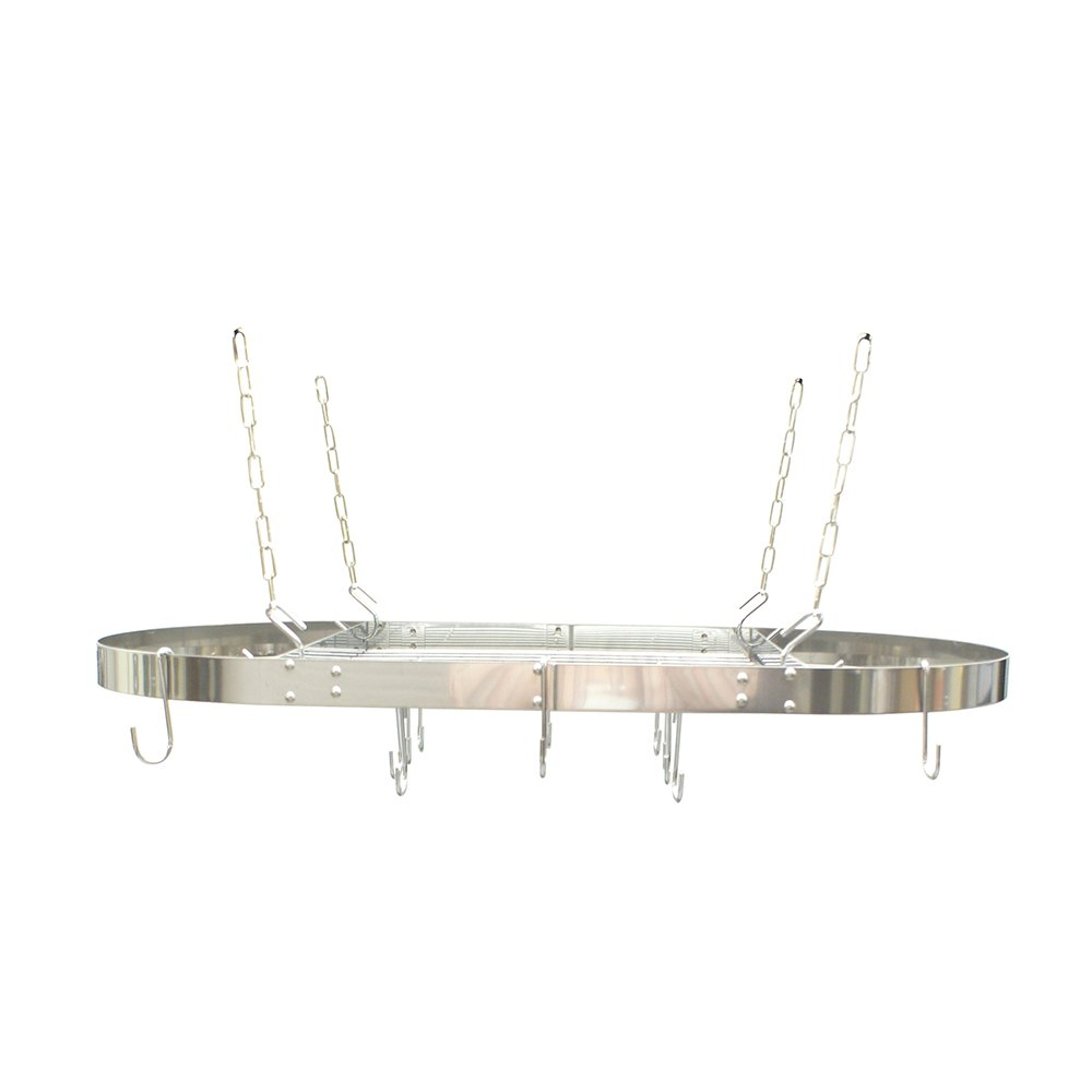 Range Kleen CW6001 Stainless Steel Hanging Oval Pot Rack 1.5 Inch H by 33 Inch W by 17 Inch D CW6001R