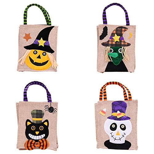 Colo-Go Halloween Christmas Candy Bags Christmas Stocking Drawstring Kids Trick Treat Bags(Pack of 4)