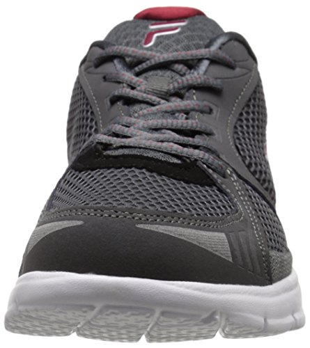Fila Men's Luxey Running Shoe, Castlerock/Biking Red/Metallic Silver, 13 M US