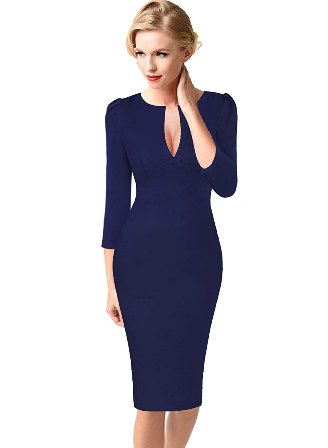Dark Navy bluee VfEmage Womens Sexy V Neck Party Cocktail Work Slim Fitted Pencil Bodycon Dress