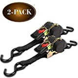 #10: (2-Pack) Retractable Ratchet Straps with Vinyl Coated S-Hooks, 1