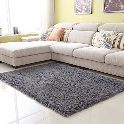 Junovo Ultra Soft Contemporary Fluffy Thick Indoor Area Rug for Home Decor Living Room Bedroom Kitchen Dormitory,4' x 5.3' ,Grey