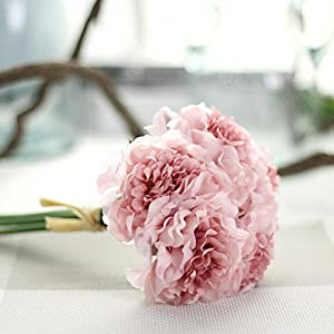 LtrottedJ Artificial Silk Fake Flowers Peony Floral Wedding Bouquet Bridal Hydrangea Decor (B) 19