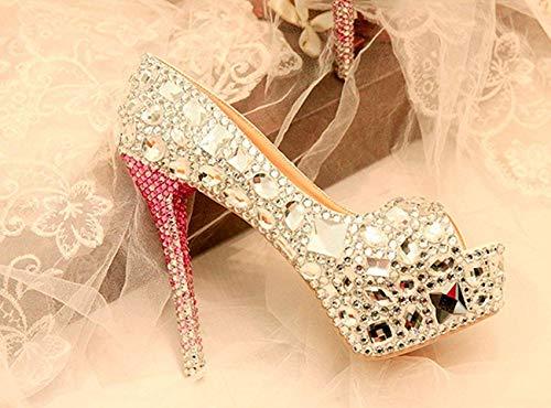 Taille Toe Peep 14cm Heel Heel coloré Sandales Mariage De Mariée 5 6 Dames Uk Qiusa Silver wz5vqEAPxn