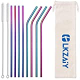 LKZAIY Metal Straws Stainless Steel Straw Reusable Drinking Straws 8.5' Colorful Rainbow Straws 8 Set [ 4 Straight, 4 Curved ]for 20 Oz Yeti Rtic Ozark Trail Wine Tumblers with Dual 9' Cleaning Brush