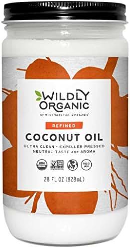 Organic Coconut Oil Refined (No Coconut Flavor or Scent, Expeller Pressed), Non-GMO, Glass Jar, Wildly Organic, - 28 FL OZ
