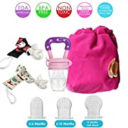 Baby Food Feeder, Silicone Mesh Teether BPA Free for Babies & 3 Sizes Fresh Fruit Teething Holder with Pacifier Clip, Frozen Popsicle Ice Pop Molds, Gift for Kids Feeding Supplies Portable Package