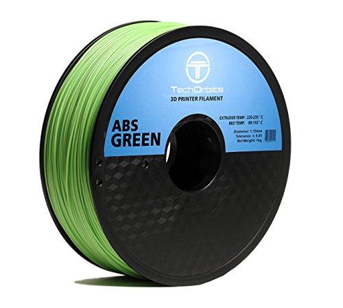 Superior 1 Kg Spool (TechOrbits 3D ABS-1KG1.75-Green ABS 3D Printer Filament, Dimensional Accuracy +/- 0.05 mm, 1 kg Spool, 1.75 mm,)